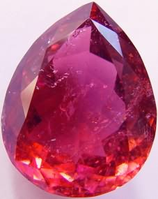 Pear rubellite tourmaline gemstone, exclusive loose faceted tourmalines, Madagascar gemstones shopping