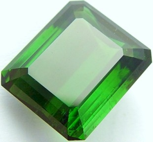Emerald cut green tourmaline gemstone, exclusive loose faceted tourmalines, Madagascar gemstones shopping